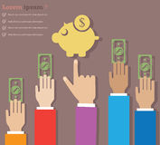 Money Saving. Abstract concept whit businessman hands stock illustration