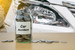 Money saving for Car Accident Royalty Free Stock Images