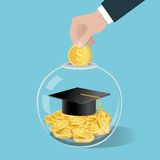 Money saving concept. Hand putting a coin into glass bottle.. Saving for education. Vector illustration Royalty Free Stock Photo