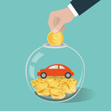 Money saving concept. Hand putting a coin into glass bottle.. Saving to buy car. Vector illustration Stock Images