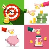 Money Saving Concept. Vector Business Design with Money Pig. Money Saving Concept. Vector Business Design with Money Pig and Coins stock illustration