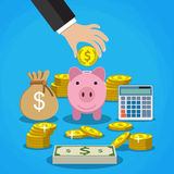 Money saving concept. Vector illustration in flat style design. Piggy bank, calculator and hand with coin. Finance symbols and icons Stock Photos