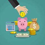 Money saving concept. Vector illustration in flat style design. Piggy bank, calculator and hand with coin. Finance symbols and icons Royalty Free Stock Photography