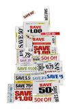 Money Saving Coupons On White. Money saving grocery coupons on a white background Stock Photo