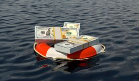 Money saving and financial wealth protection concept. Dollar money stacks in a red lifebuoy on the sea Stock Photo