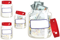 Money saving glass jar. Four illustrations of a cash savings jar. One empty, two partially full and one overflowing with money. E.P.S. 10 vector file included royalty free illustration