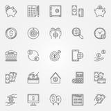 Money saving icons set Stock Photo