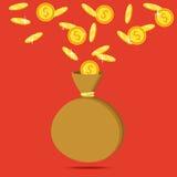 Money saving and money bag concept. Money making. Bank deposit. Flat icon, vector illustration. Money saving and money bag concept. Money making. Bank deposit Stock Photos