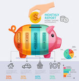 Money Saving Monthly Report Infographics Template. Vector Illustration. Can Be Used For Workflow Layout, Banner, Diagram, Number Options, Web Design Royalty Free Stock Photos