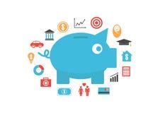 Money saving. Piggy bank with icon, money saving reason, isolated on white background Royalty Free Stock Photos