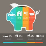 Money saving planning infographics template. Royalty Free Stock Photography