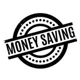 Money Saving rubber stamp. Grunge design with dust scratches. Effects can be easily removed for a clean, crisp look. Color is easily changed Stock Image