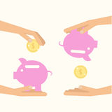Money saving and spending. Hands holding pig with coins. Vector illustration for financial economy. Flat style Royalty Free Stock Photo