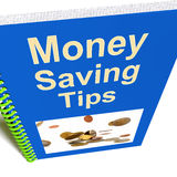 Money Saving Tips Book Shows Finance Advice Royalty Free Stock Photo