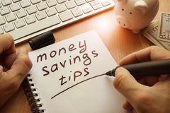 Money saving tips. stock photo