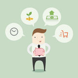 Money saving. Vector illustration cartoon Stock Photos