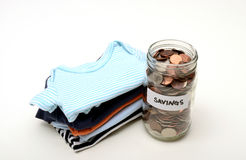 Money savings on baby items Stock Images