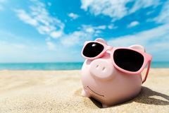 Money. Savings bank banking summer sunglasses holidays royalty free stock image