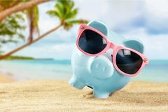 Money savings bank. Banking summer sunglasses Stock Photography