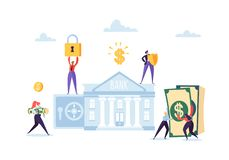 Money Savings Concept. Business People Characters Investing Money on Bank Account. Safe Deposit, Banking, Earnings. Investments. Vector illustration royalty free illustration