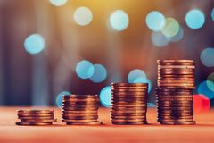 Money savings concept with coin stack Royalty Free Stock Images