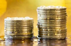 Money savings concept, gold coins stock image