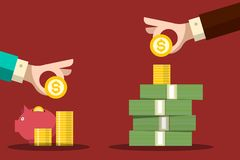 Money Savings Concept. Human Hands with Dollar Coins and Piggy Bank. stock illustration