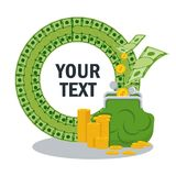 Money savings concept text. Poster template with an illustration of financial success and wealth. Flat vector cartoon illustration. Objects isolated on white Royalty Free Stock Image