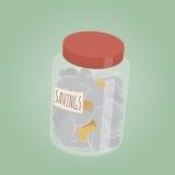Money savings in a glass Stock Photos