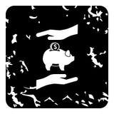 Money or savings insurance icon, grunge style. Money or savings insurance icon. Grunge illustration of money or savings insurance icon for web royalty free stock image