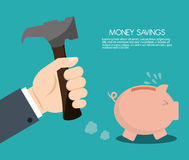 Money savings with piggy design, vector illustration. Money savings concept with icon design, vector illustration 10 eps graphic Royalty Free Stock Photo