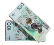 Money and savings. Stack of 100's polish zloty banknotes Royalty Free Stock Image