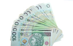 Money and savings. Stack of 100's polish zloty banknotes stock photo