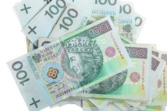 Money and savings. Stack of 100's polish zloty banknotes Stock Images
