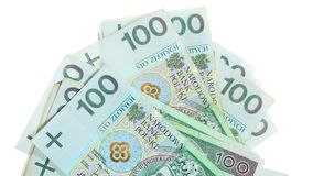 Money and savings. Stack of 100's polish zloty banknotes Royalty Free Stock Photo