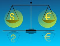 Money on the scale. Euro, dolar, pound stock illustration