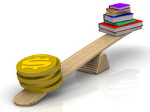 Money on the scale outweigh the pile of books. Gold coins with the symbol of the American dollar outweigh the pile of books on scales. Concept of expensive Royalty Free Stock Photography