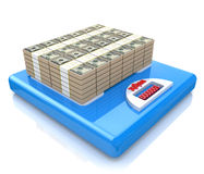 Money on scales Royalty Free Stock Images