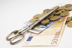 Money and scissors  Royalty Free Stock Photography