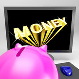 Money Screen Shows Finance Wealth And Prosperity Royalty Free Stock Photos