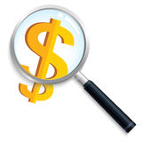Money search. Find the money,magnifier and dollar sign Royalty Free Stock Photo
