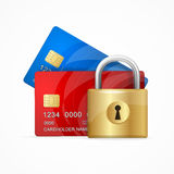 Money Secure Concept. Vector. Money Secure Concept. Credit Card and Padlock. Vector illustration Stock Photos