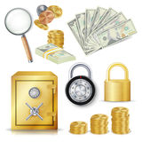 Money Secure Concept Vector.. Gold Metal Coins, Money Banknotes Stacks, Encryption Padlock, Safe, Realistic Magnifying Glass. Commercial Investment Illustration Royalty Free Stock Image