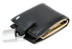 Money security. Wallet with a padlock, money security concept Stock Images