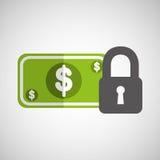 Money security concept padlock design icon Royalty Free Stock Image