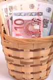 Money set in a basket, dollars, euro and ukrainian money Royalty Free Stock Images
