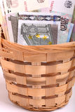 Money set in a basket, dollars, euro and ukrainian money Royalty Free Stock Photography