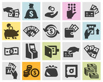 Money set black icons. signs and symbols. Money. Icons on a gray background. vector illustration Royalty Free Stock Images