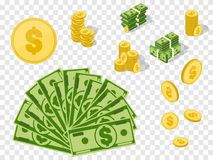 Money set. Coins and banknotes isolated. Vector success concept. Illustration Royalty Free Stock Photos