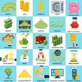 Money_set_icons_concept 皇族释放例证